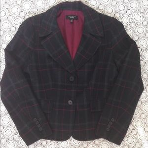 Talbots 12 Wool Plaid Blazer Black Magenta Jacket